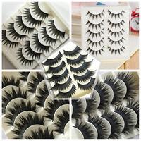 5 Pairs Makeup Beauty False Eyelashes Eye Lashes Extension Long Thick Cross Gift