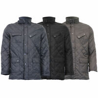 Mens Jacket Padded Quilted Coat Corduroy Funnel Neck Fleece Lined Winter Casual