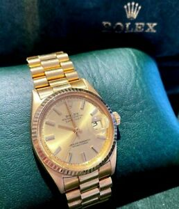 1967 Oyster Perpetual Solid Yellow Gold Rolex Datejust Watch DG0463