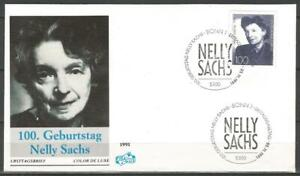 Germany (West) 1991 FDC Birth Centenary Writer Nelly Sachs