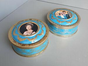 Pair vintage Meltis of Bedford tins -1981 Charles + Diana / Queen Elizabeth(T28)