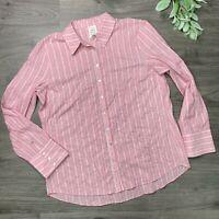 CINQ A SEPT Pink Marisol Stripe Long Sleeve Button Down Size Medium Button Back
