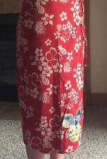 Disney Store Red HAWAIIAN MICKEY MOUSE SARONG Wrap Skirt Long XS Sequins Ukulele
