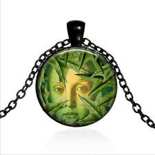 Mystic Tree Spirit  Black Glass Cabochon Necklace chain Pendant Wholesale
