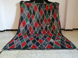 Handmade Vintage Moroccan Azilal Boucheouite Rug Beni Ourain Berber Carpet 5 x 7