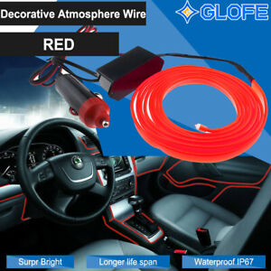2M LED Car Interior Decor Atmosphere EL Wire Strip Light Lamp Car Accessory  Red