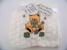 "Fleece Baby Blanket Teddy Bear Applique Soft Cozy Ivory 30"" x 40"""