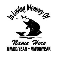 In Loving Memory Of with Fish Decal Window Sticker Custom Memorial