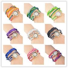 Damenuhr Armbanduhr Quarzuhr Analog Strass Wickelarmband Lederband Watch Gift HS