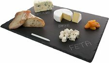 "Beautiful Black Slate Stone Cheese Board Serving Platter w/ Chalk ~12""x16"""