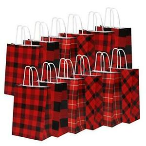 20 Pieces Red and Black Plaid Paper Party Bags Gift Bag Christmas Bag Color C