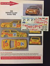 DECALS 1/43 NISSAN SUNNY GARDEMEISTER RALLYE SUEDE 1998 WRC SWEDISH RALLY