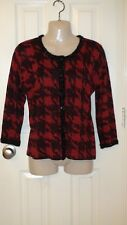 Womens August Silk Cardigan Mettalic Red, Black  Buttons Up L NWT