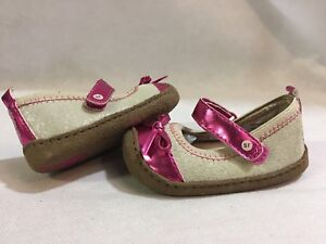 SURPRIZE By Stride Rite CRAWL Baby Shoes Size 2 , Red Fusia /Natural Tan