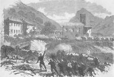 ITALY. Garibaldians forcing Caffaro, antique print, 1866
