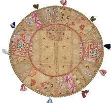 """18"""" Floor Pillow Cover Round Vintage Patchwork Decorative Cushion Pouff Case"""