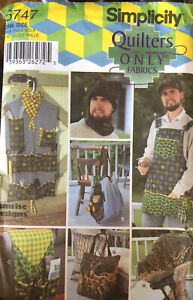 Simplicity Sewing Pattern Quilters Men's Accessories Gifts Apron,Hat, 5747 UNCUT
