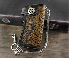 Mens Tan Carved Long Leather Wallet With Biker Trucker Chain