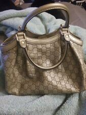Auth Gucci Sukey guccissima leather GG print medium champagn-colored handbag!!!
