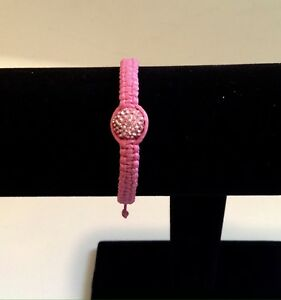 Bracelet Shamballa Rhinestone Disco Crystals Hematite Pink-