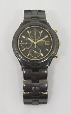 RARE Seiko Men's SNA283 Alarm Chronograph Black Ion Watch