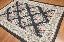 6'X9' Hand Woven Floral Trellis French Needlepoint Aubusson Wool Rug