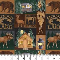 David Textiles Moose Lake Cabin Precut Fabric 1 Yard Cotton Lodge Camper Decor