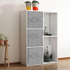 White 5 Cube Bookcase Shelving Unit Display Storage 3 Fabric Drawers Home Office