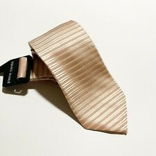 New With Tags Pierre Cardin 100% Silk Tie, Peach And Ivory Striped