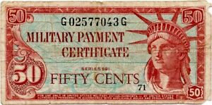 (1961-1964) United States Military 50 Cents MPC Series 591 VG-F; VERY RARE