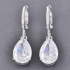 925 Silver Jewelry Women's Fashion Vintage Amethyst Drop Dangle Earrings Elegant
