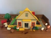 Vintage 123 Playmobil Farmhouse 1990`s With Accessories