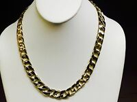"""10kt Solid Yellow Gold Handmade Curb Link Mens Chain Necklace 20"""" 72 grams 13MM"""
