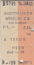ANCIENNE BILLET Amsterdam CS - Utrecht CS de 1969 (g4336)
