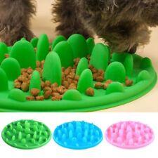 Pet Slow Bowl Puppy Dog Cat Feeder Anti Slip Choke No Gulp Bloat Water Feed Dish Blue