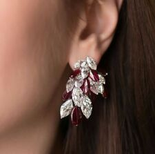 Marquise Ruby And Cz Classic 40MM Length 25MM Width Designer Party Drop Earrings