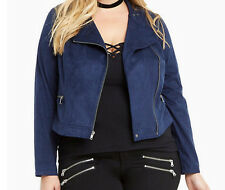 New Torrid Plus Size Faux Suede Zip Blue Moto Jacket Coat in Size 0 0X