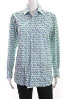 Etro Womens Floral Long Sleeve Button Down Shirt Blue Size L
