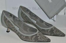 NEW Manolo Blahnik SRILA Lace Grey Kitten Heels Pumps BB 39.5 40.5 41