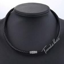 4/6/8mm Leather Black Braid Rope Cord Chain Necklace Magnet Clasp Jewelry 16-24""