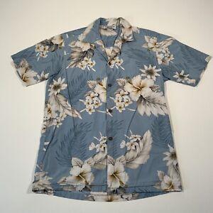 Vintage Hawaiian Crazy Pattern Light Blue Floral Festival Shirt - Mens Small