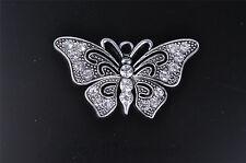1pcs Charm 3D butterfly crystal silver DIY pendant Fit Scarve necklace 7571