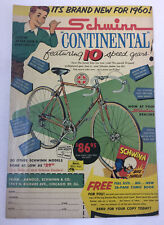 1960 SCHWINN Continental Bicycle Ad Page ~ 10 Speed Gears!