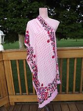 "Lucky Brand Huge Pink Purple Checks Floral Scarf Soft Rayon 60"" x 25"" PRISTINE"