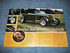 "1932 Ford Roadster Pickup Article ""Nostalgia Just Ain't What it Used to Be"" Olds"