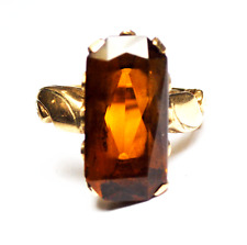 Beautiful Antique 10k Handmade Amber 20mm Fish Carved Ring Size 7
