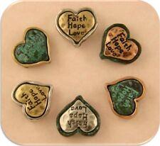 2 Hole Beads Hearts Engraved Faith Hope Love 4T & Verdigris Patina Sliders QTY 6