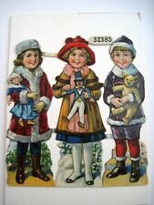 Adorable German Christmas Die Cuts w/ Children Holding Their Christmas Toys  *