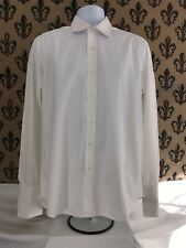 FRAY BERGDORF GOODMAN Solid White French Cuff Sleeve Button Up Men's Shirt 41/16
