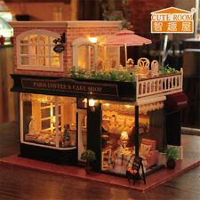Mini Wooden Dollhouse Coffee Cake Shop Doll House LED Light Furniture Kits DIY